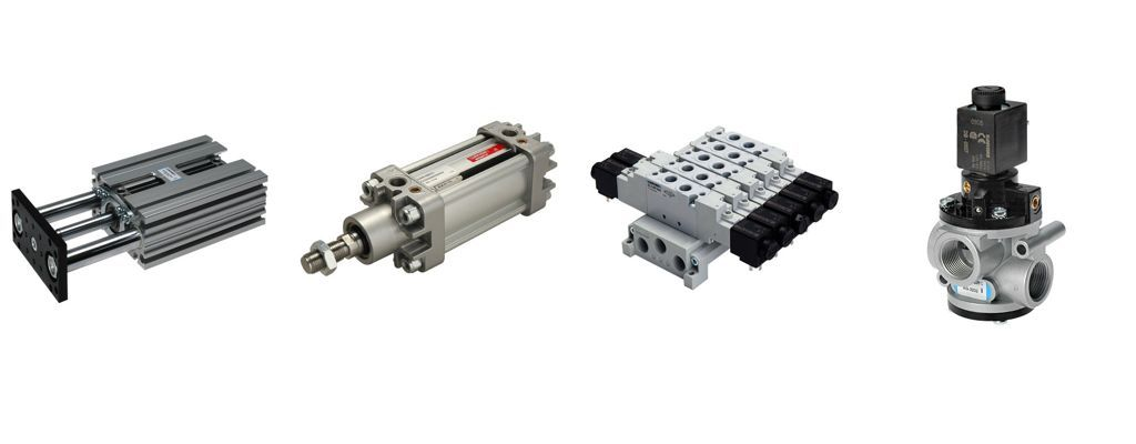 Pneumatikzylinder und Magnetventile